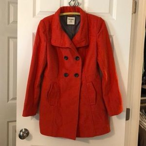 Red orange pea coat